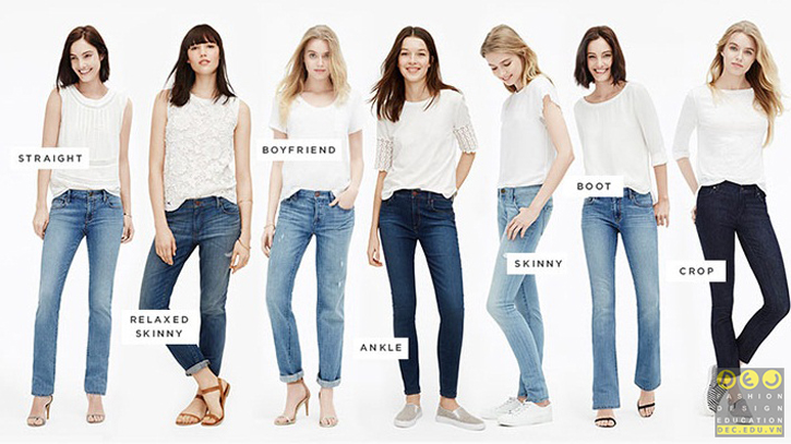 Kiểu dáng phong phú của quần jean một kiểu quần được làm từ chất liệu denim nổi tiếng