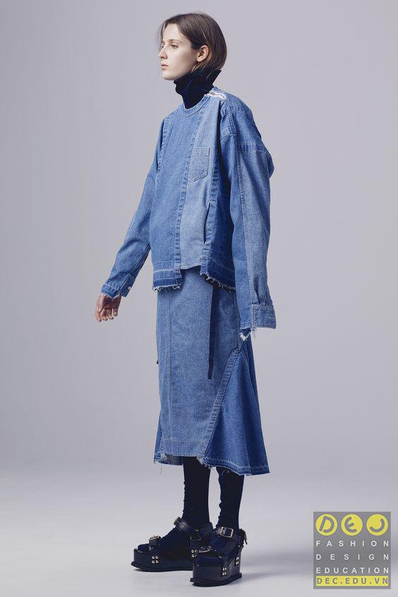 Vải Denim trong bộ sưu tập Sacai Pre-Fall 2016